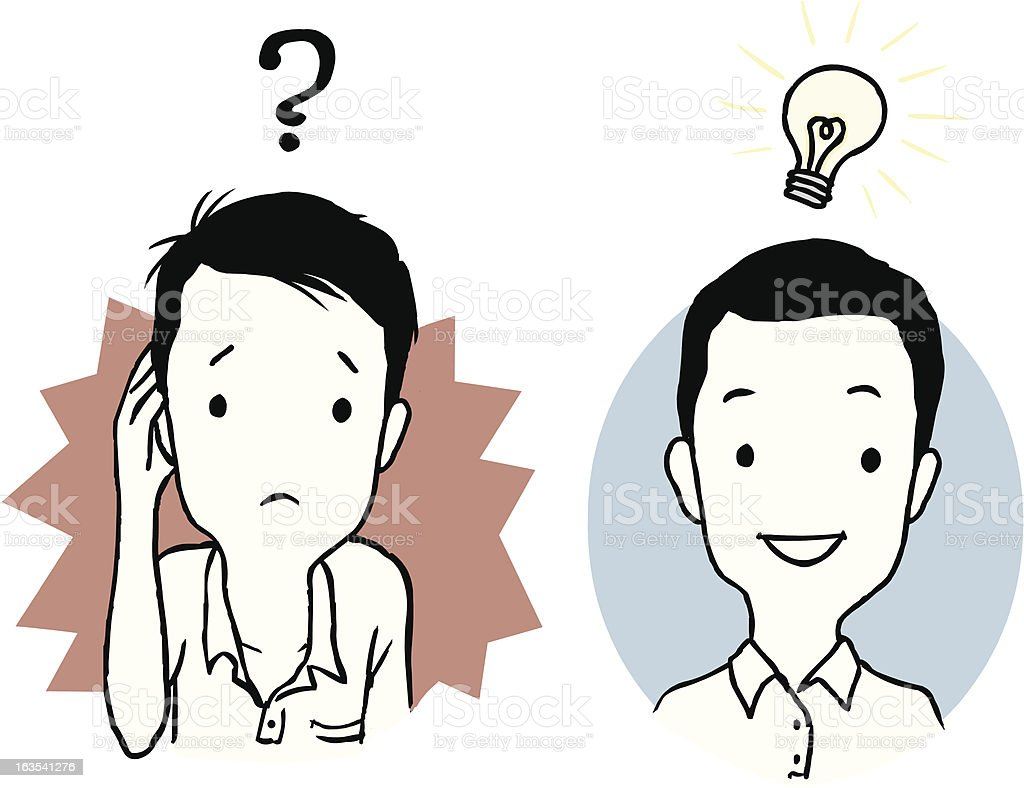 CONFUSED AND IDEA royalty-free stock vector art