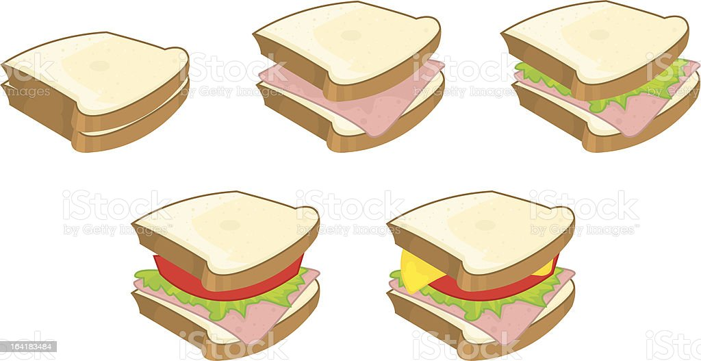 PREPARING SANDWICH vector art illustration