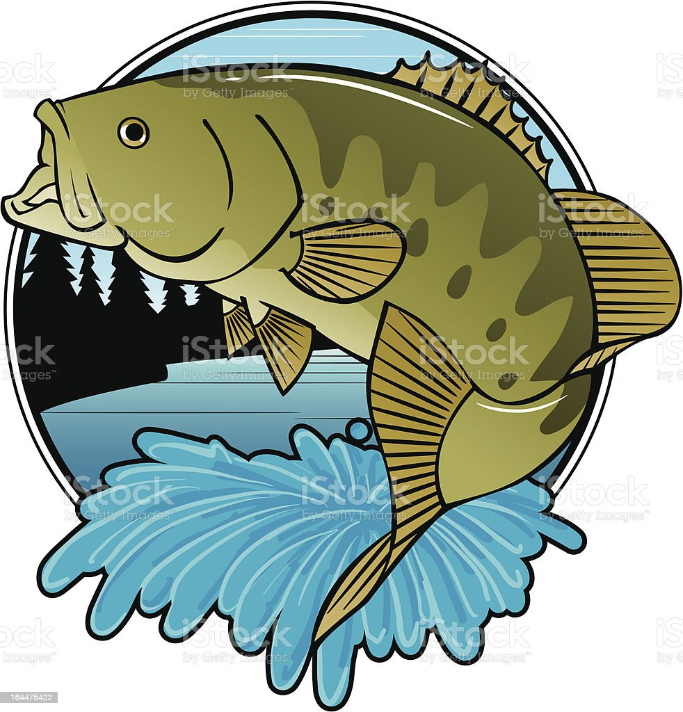SMALL MOUTH BASS FOREST vector art illustration