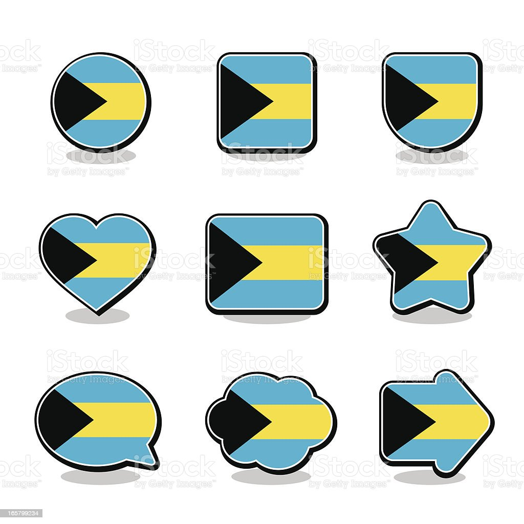 BAHAMAS FLAG ICON SET royalty-free stock vector art