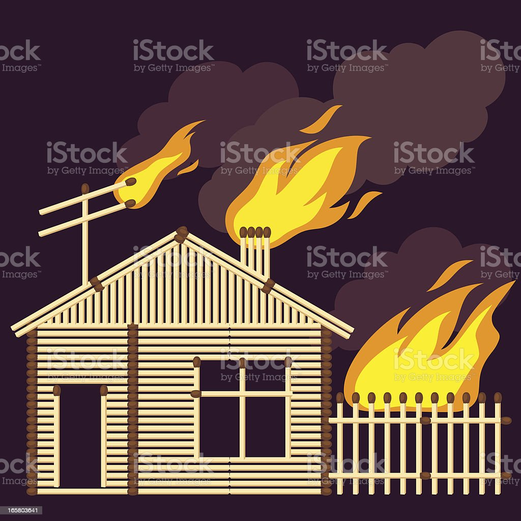 HOUSE OF MATCHES ON FIRE royalty-free stock vector art
