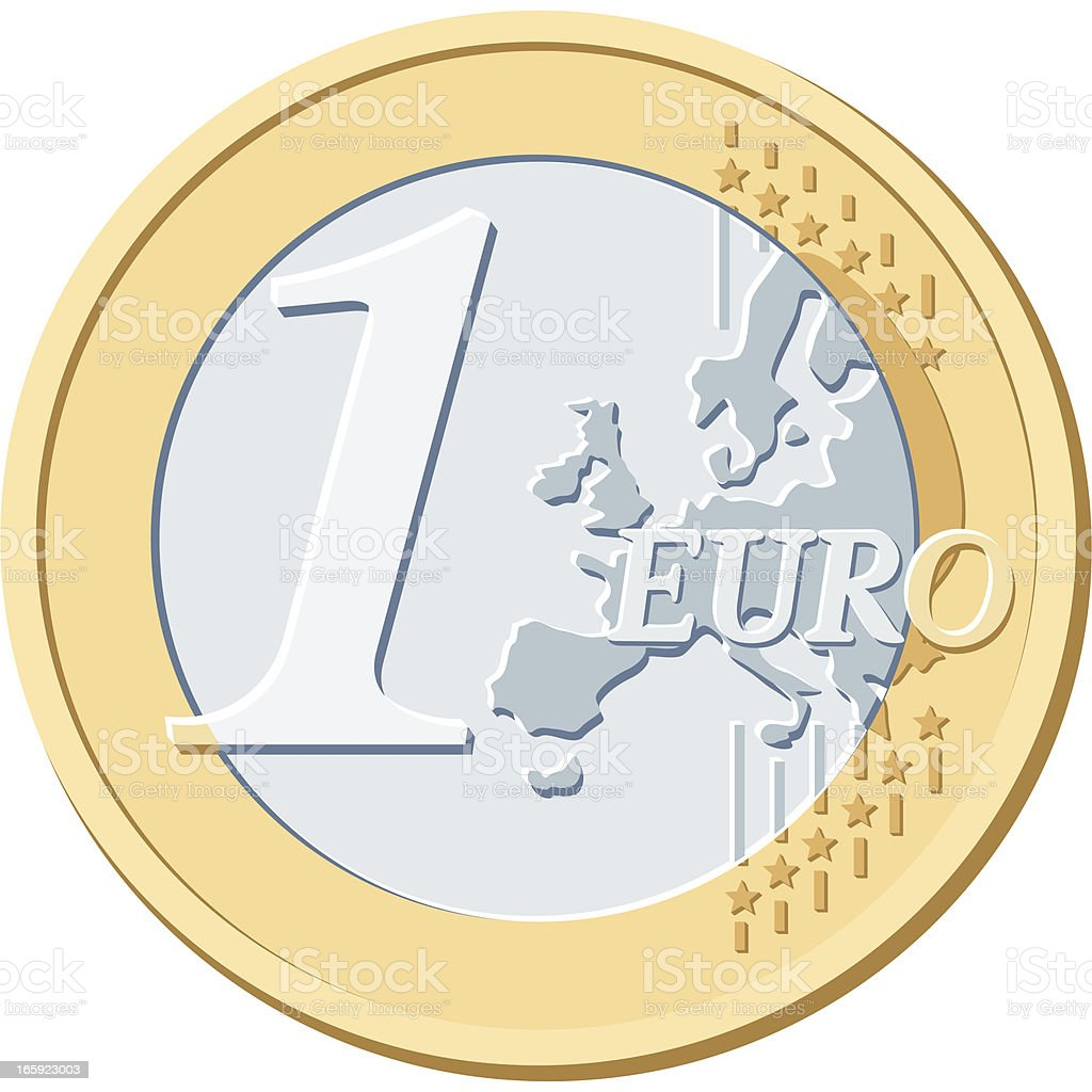 ONE EURO COIN royalty-free stock vector art