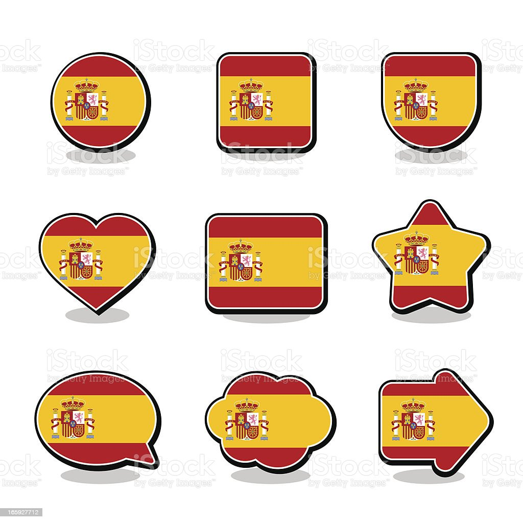 SPAIN FLAG ICON SET vector art illustration