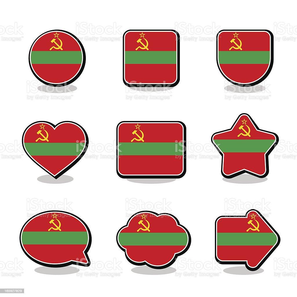 TRANSNISTRIA FLAG ICON SET royalty-free stock vector art