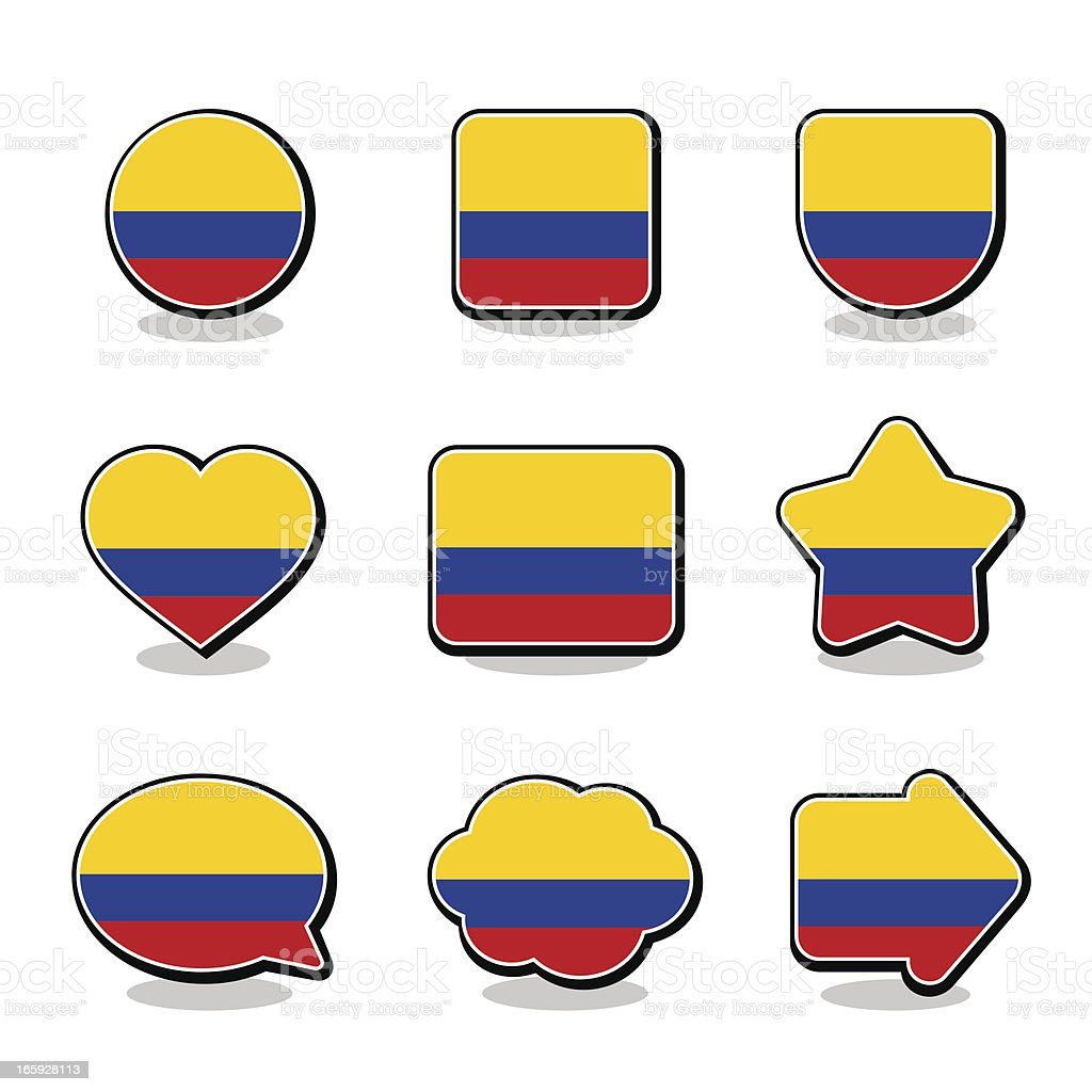 COLOMBIA FLAG ICON SET royalty-free stock vector art