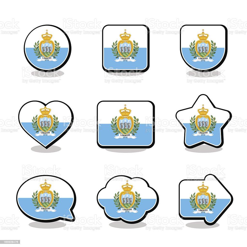 SAN MARINO FLAG ICON SET royalty-free stock vector art
