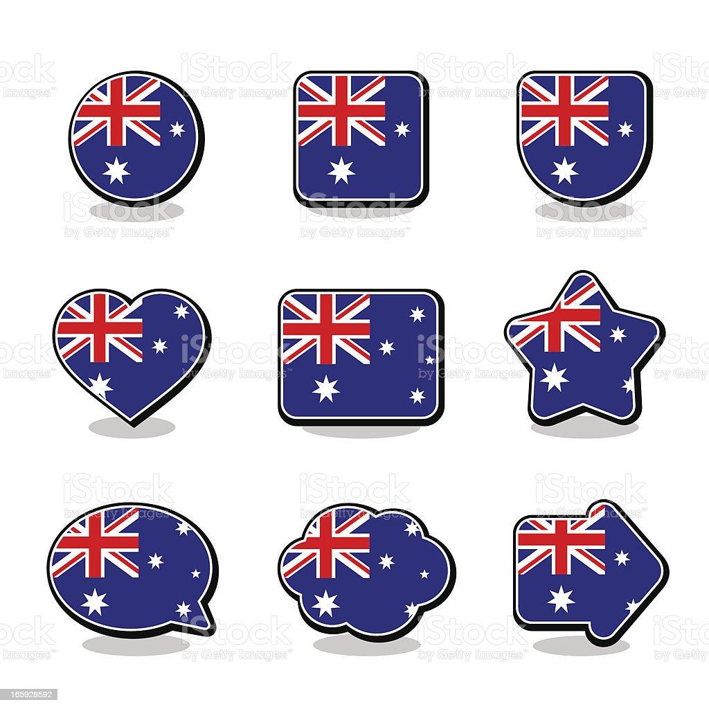 AUSTRALIA FLAG ICON SET vector art illustration