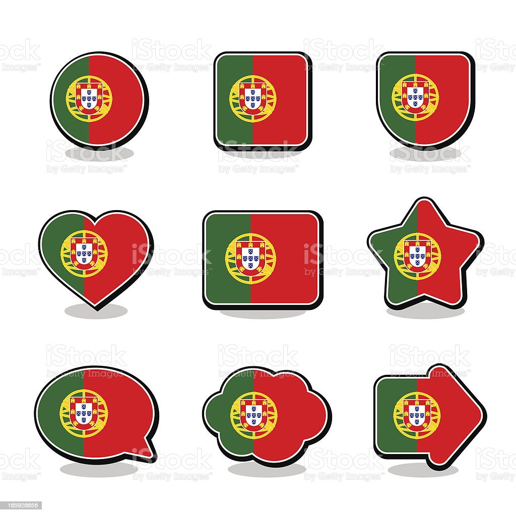 PORTUGAL FLAG ICON SET royalty-free stock vector art