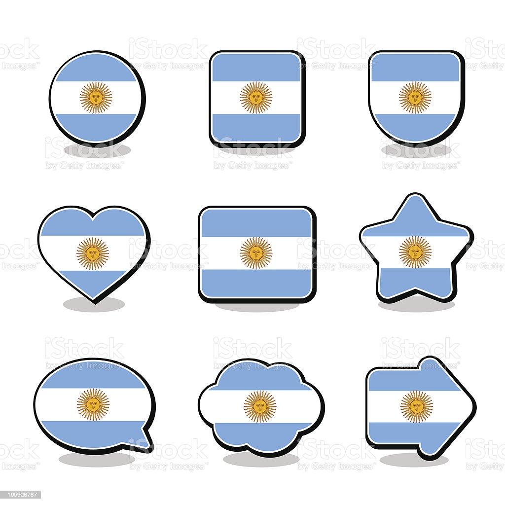 ARGENTINA FLAG ICON SET vector art illustration