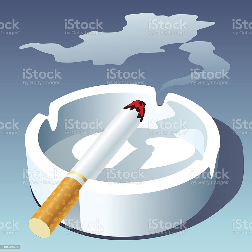 CIGARETTE AND ASHTRAY royalty-free stock vector art