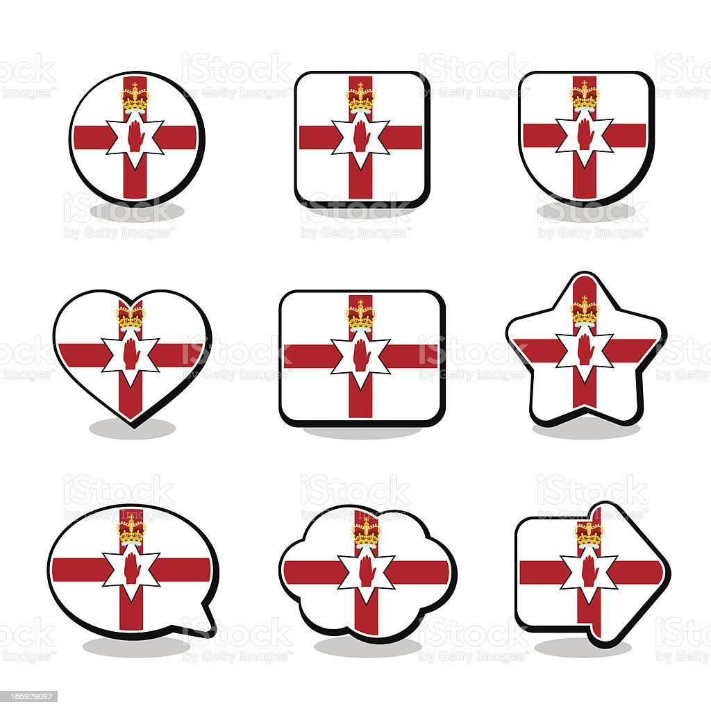 NORTHERN IRELAND FLAG ICON SET royalty-free stock vector art