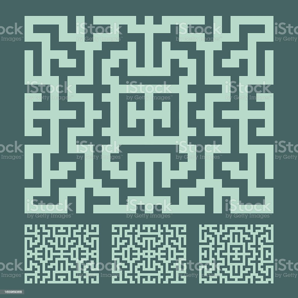 TURQUOISE LABYRINTH PATTERN royalty-free stock vector art