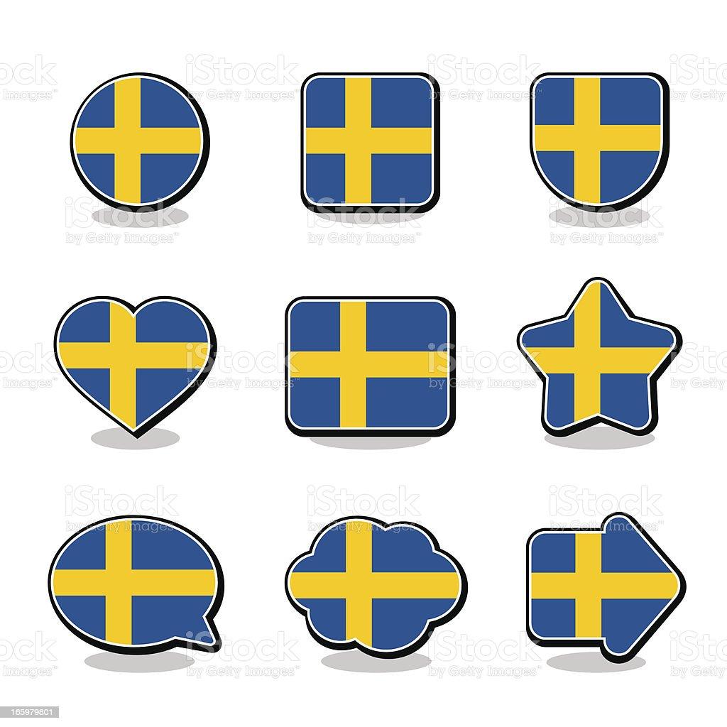 SWEDEN FLAG ICON SET royalty-free stock vector art