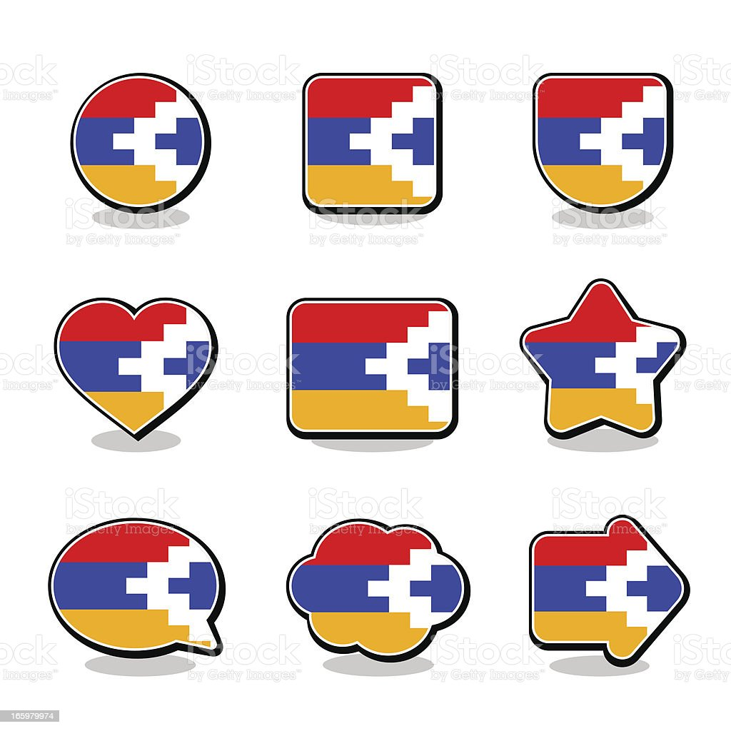 NAGORNO-KARABAKH FLAG ICON SET vector art illustration