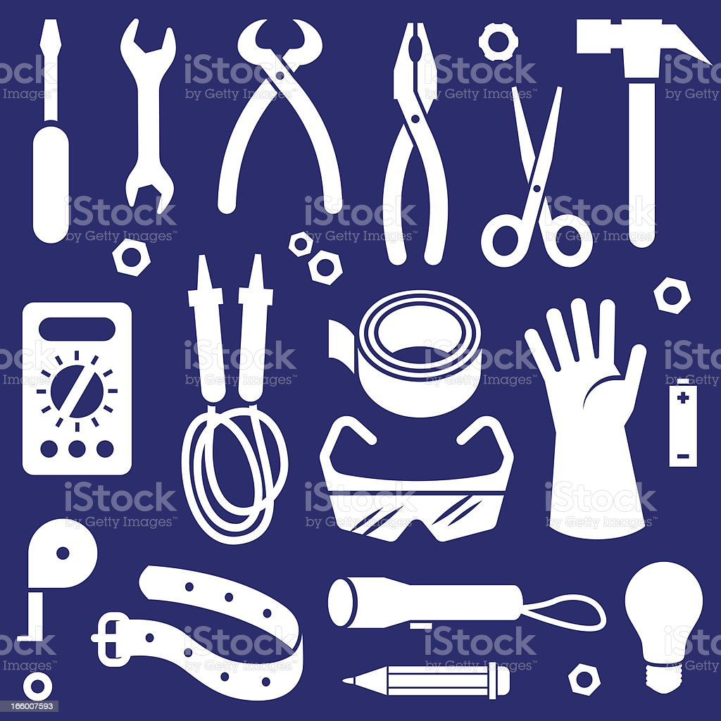 ELECTRICAN'S TOOL SET royalty-free stock vector art