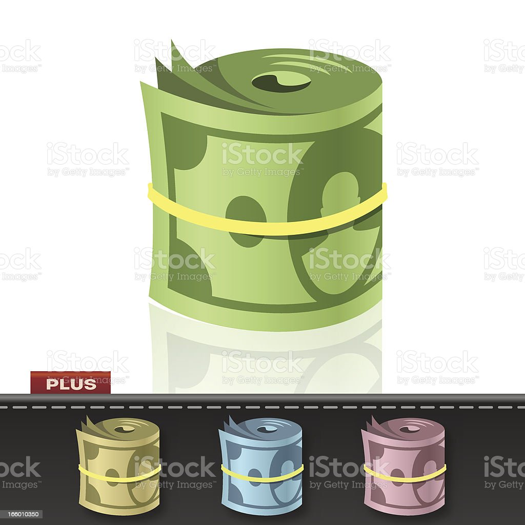 MONEY ROLL vector art illustration