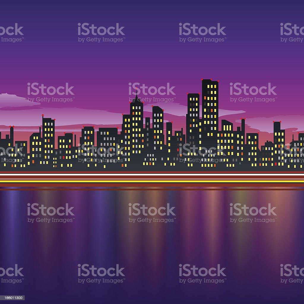 CITY SKYLINE AT NIGHT royalty-free stock vector art