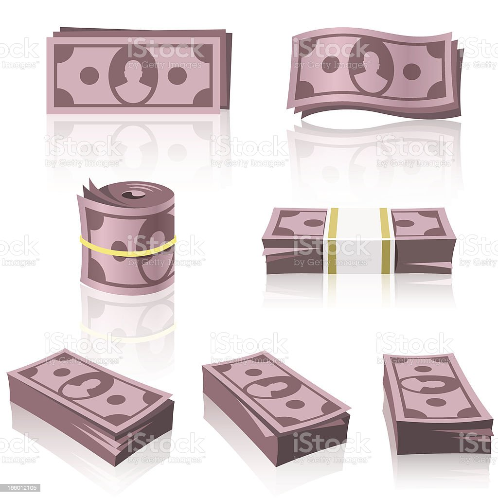 RED MONEY STACKS royalty-free stock vector art