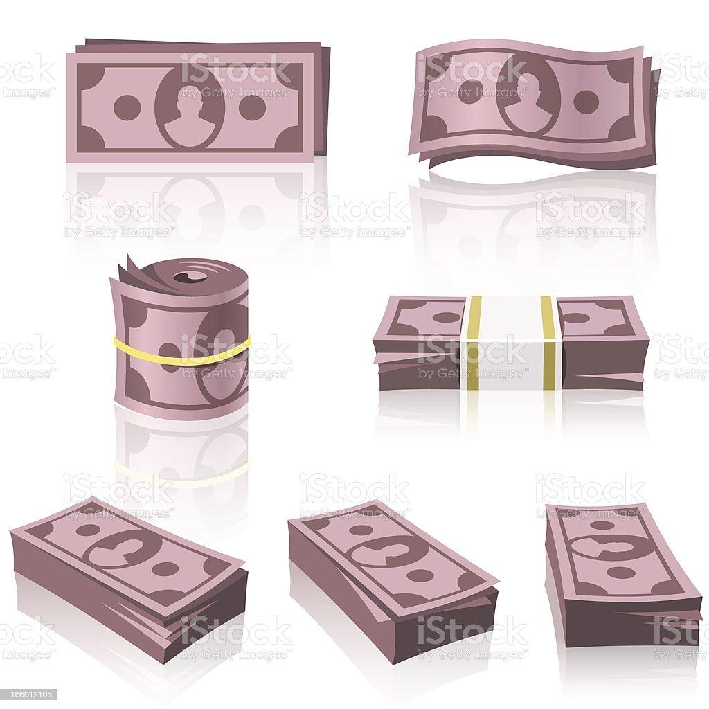 RED MONEY STACKS vector art illustration