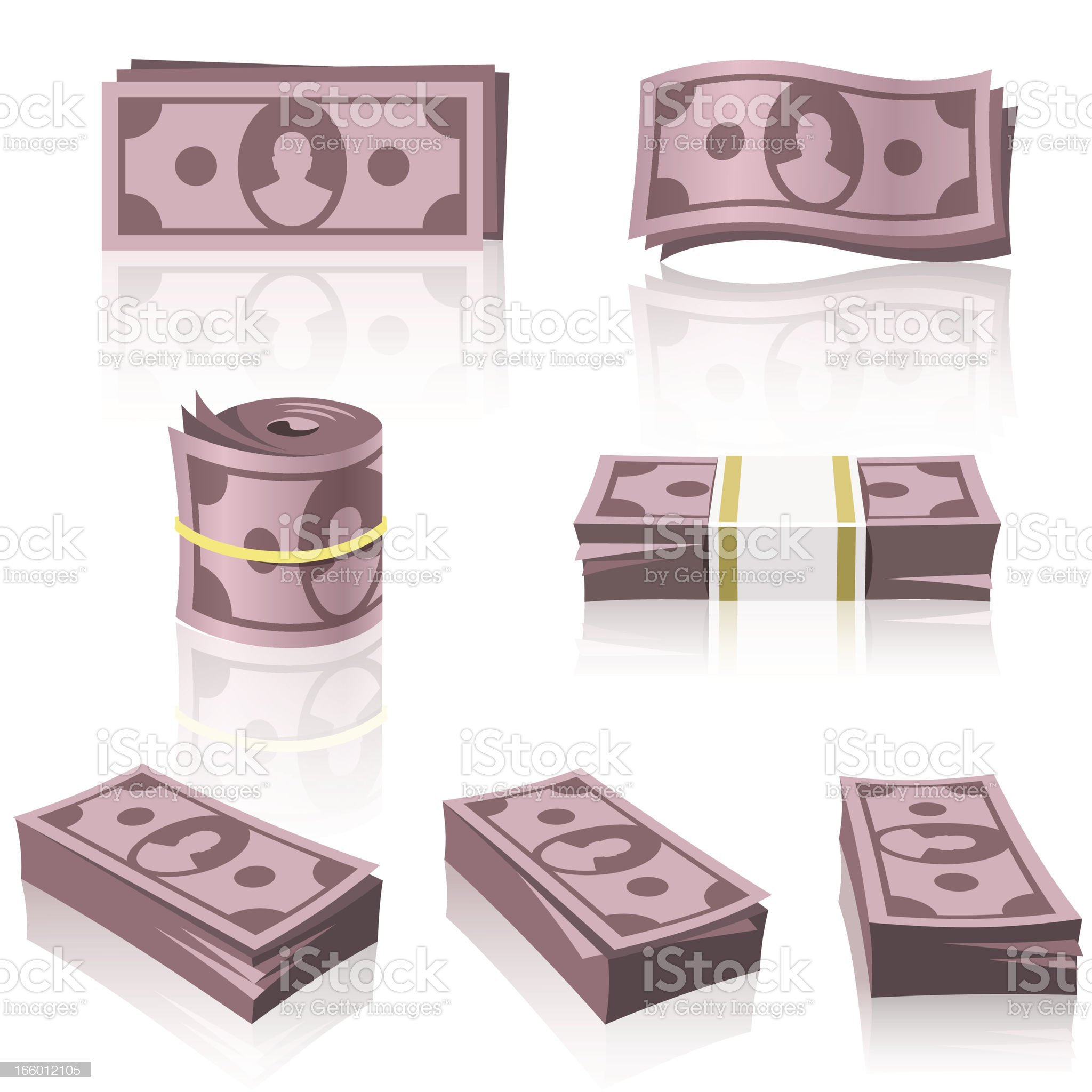 RED MONEY STACKS royalty-free stock vector art