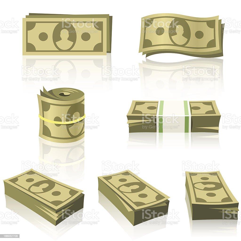YELLOW MONEY STACKS vector art illustration