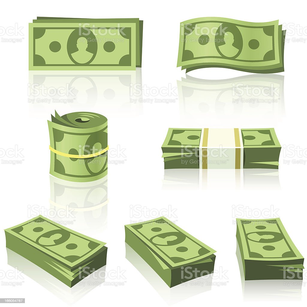 GREEN MONEY STACKS vector art illustration