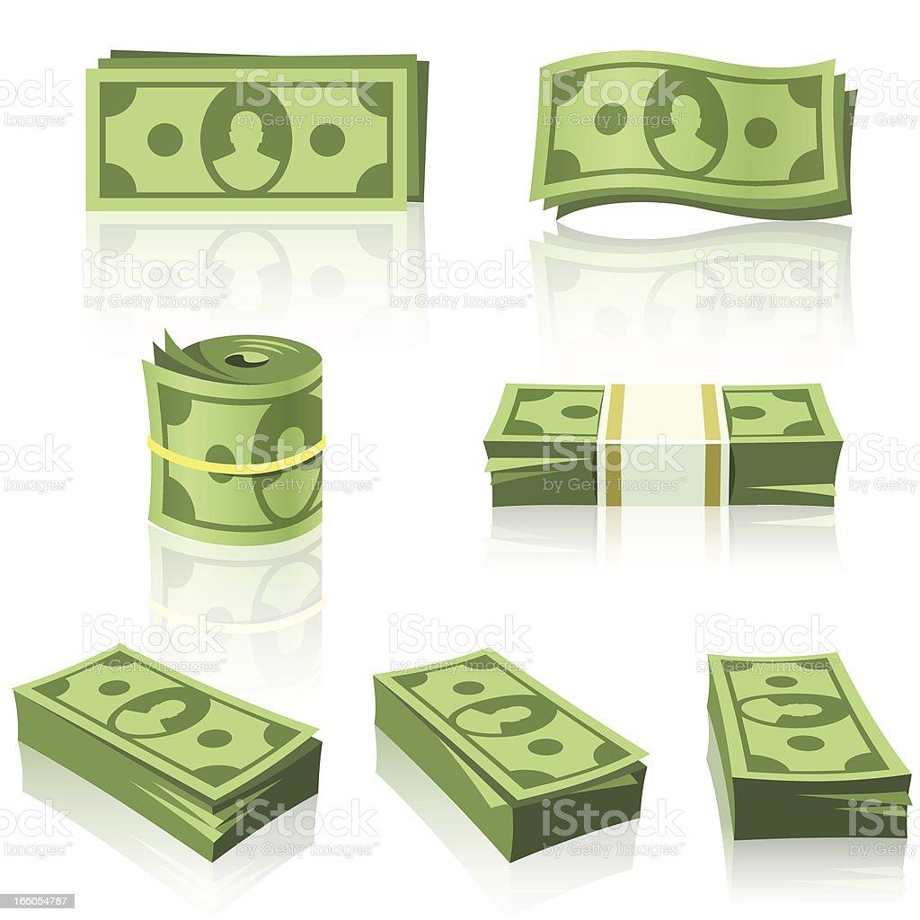 GREEN MONEY STACKS vector art illustration
