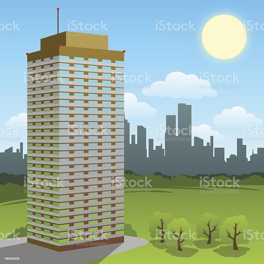 SKYSCRAPER ON A SUNNY DAY royalty-free stock vector art