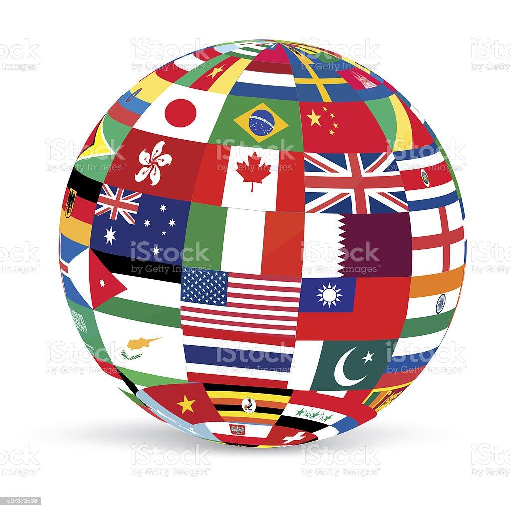 3D-FLAGS-GLOBE vector art illustration