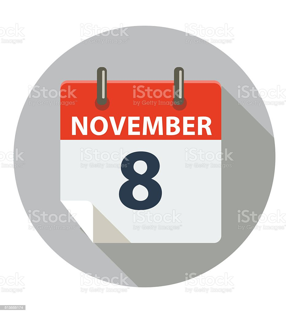 NOVEMBER 8 - ELECTION DAY vector art illustration