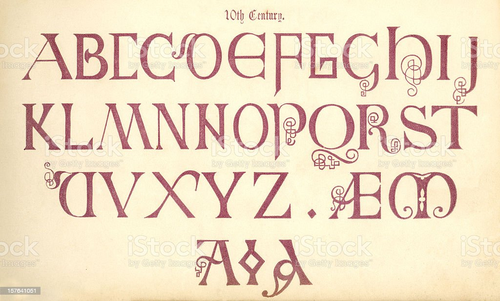 10th century English lettering royalty-free stock vector art