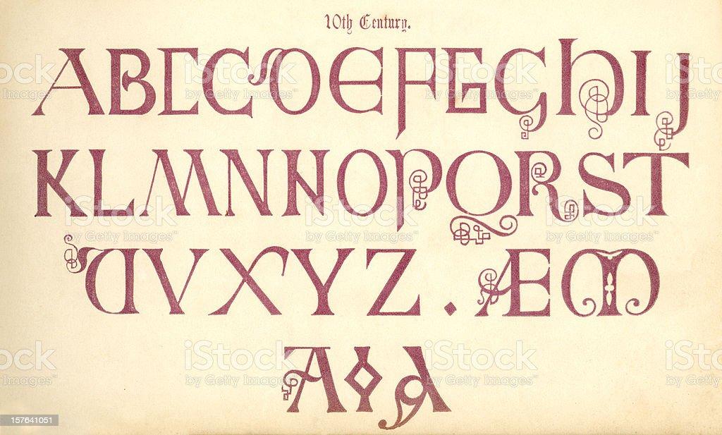 10th century English lettering vector art illustration