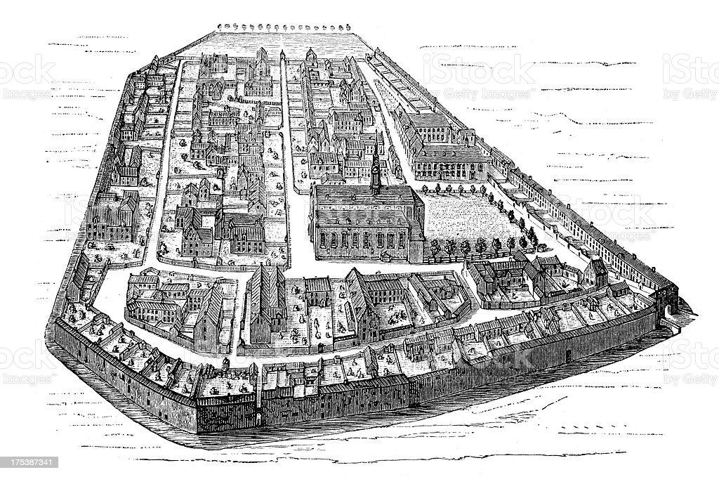 12th Century Ghent vector art illustration