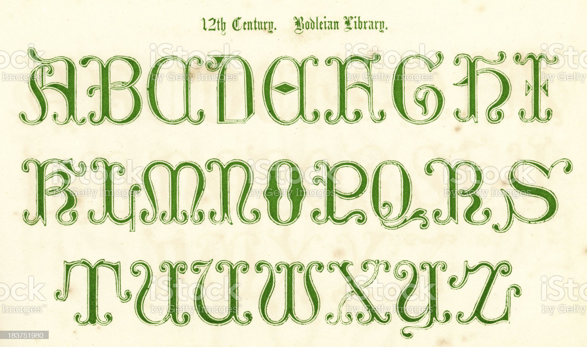 12th Century Style Alphabet royalty-free stock vector art