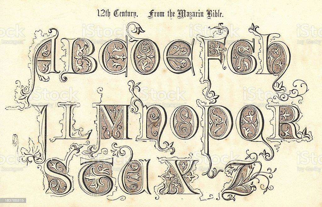 12th Century Style Alphabet vector art illustration