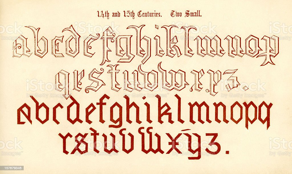 14th and 15th century lower case lettering vector art illustration