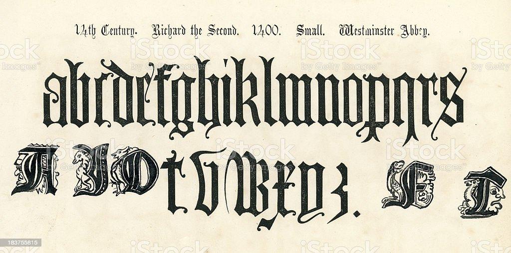 14th Century Style Alphabet vector art illustration