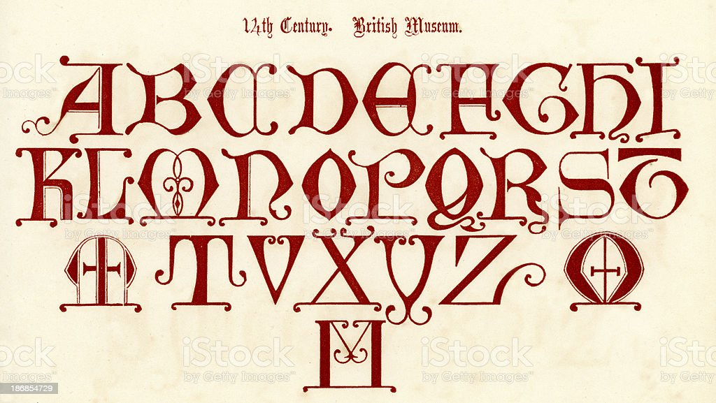 14th Century Style Alphabet royalty-free stock vector art