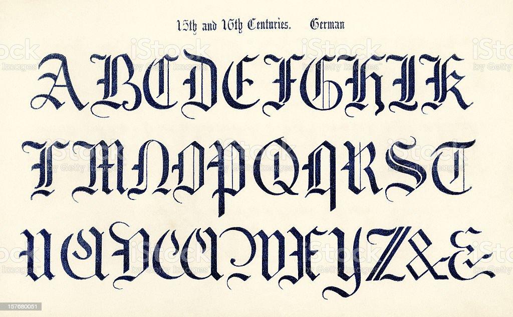 15th and 16th century German alphabet royalty-free stock vector art