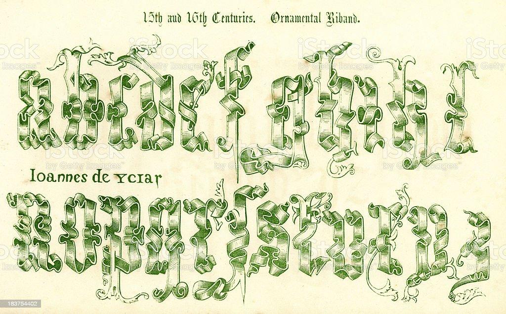 15th and 16th Century Style Alphabet vector art illustration