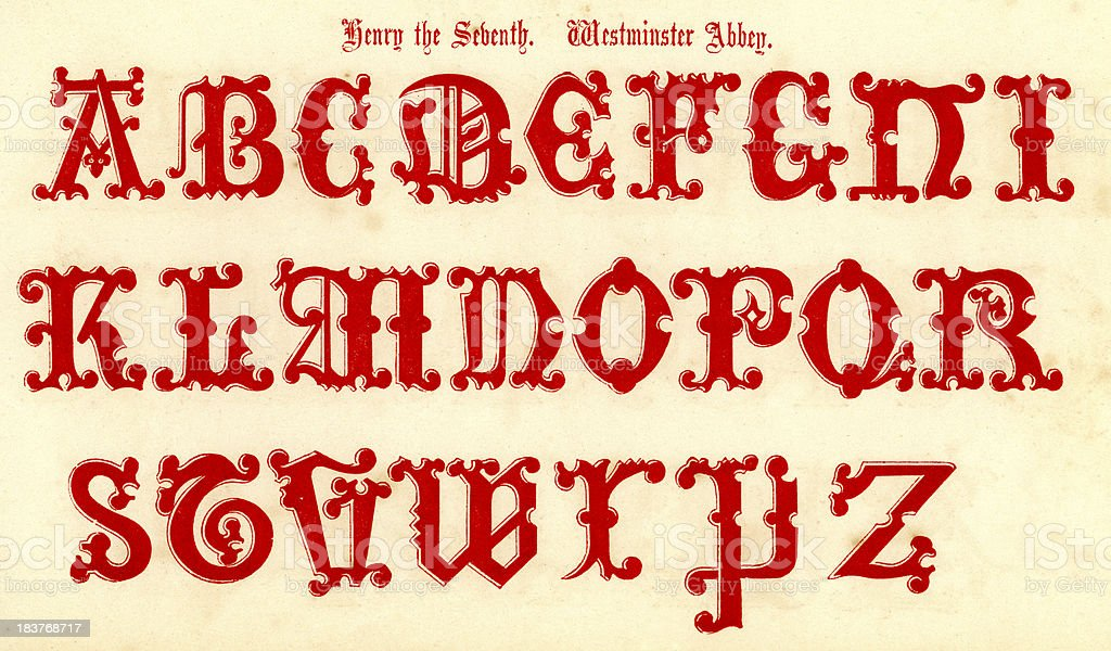 15th Century Style Alphabet royalty-free stock vector art