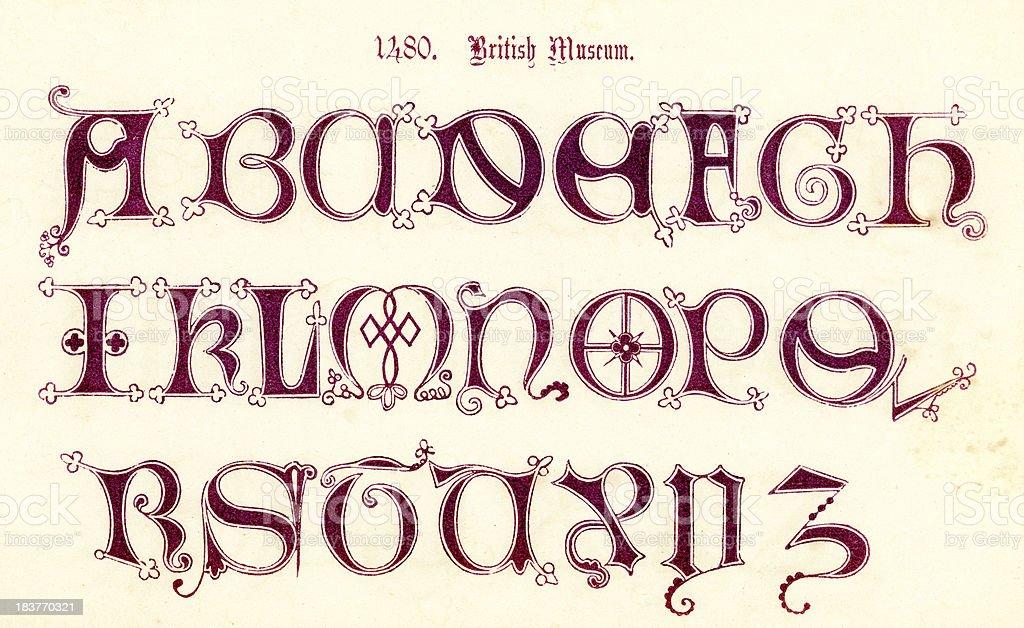 15th Century Style Alphabet vector art illustration