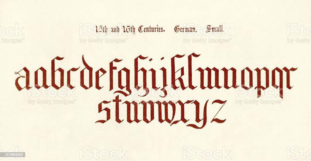 15th-16th century German lower case letters vector art illustration
