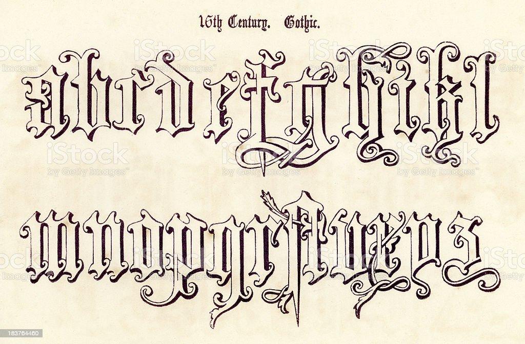 16th Century Gothic Style Alphabet vector art illustration
