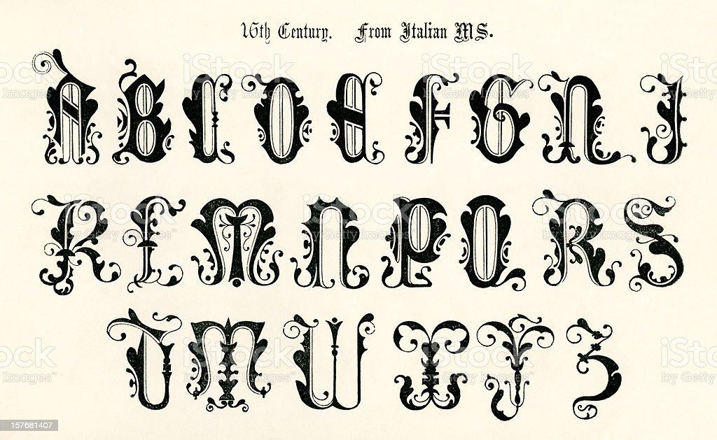 16th century lettering from an Italian manuscript royalty-free stock vector art