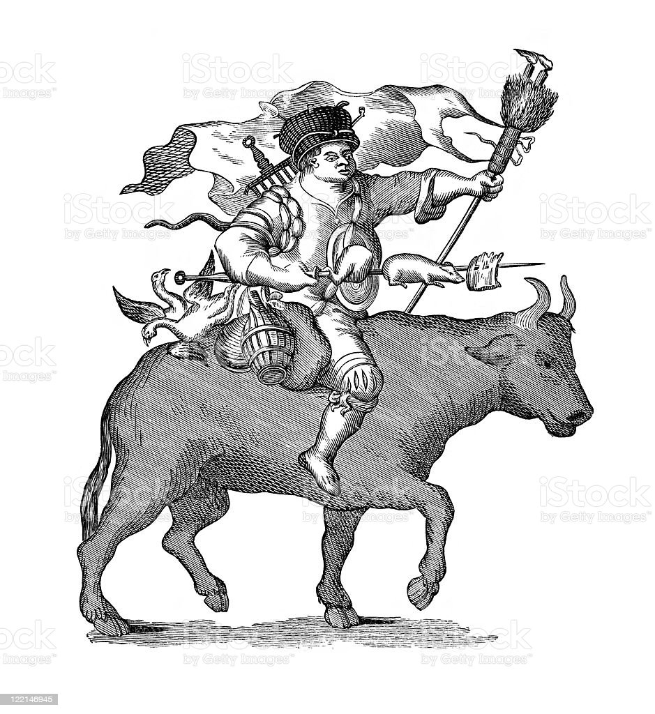 17th Century Cartoon of Meat-Loving Man on Ox royalty-free stock vector art