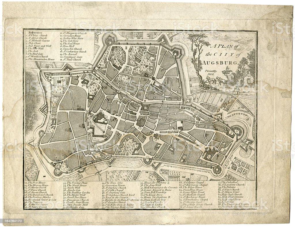 17th century city, plan of Augsburg, Germany royalty-free stock vector art