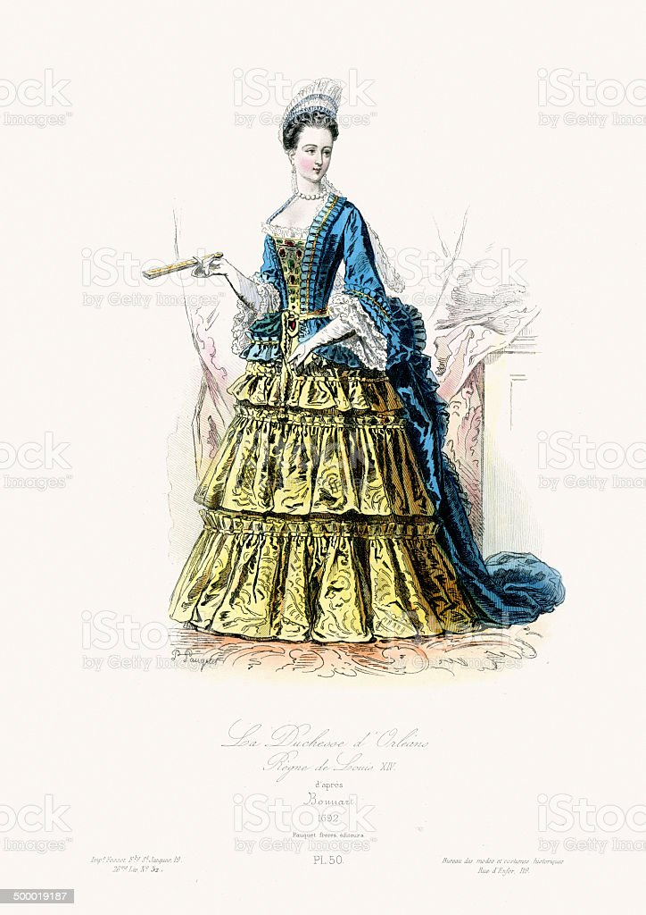 17th Century Fashion - Duchess of Orleans vector art illustration