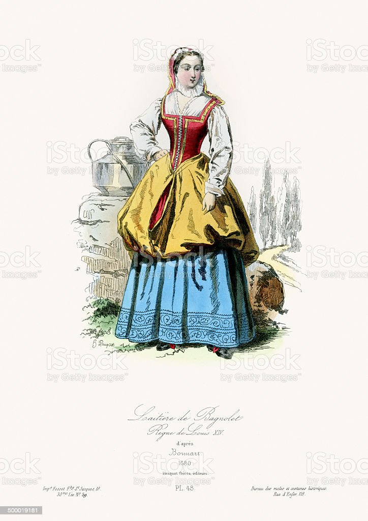 17th Century Fashion - Milkmaid of Bagnolet vector art illustration