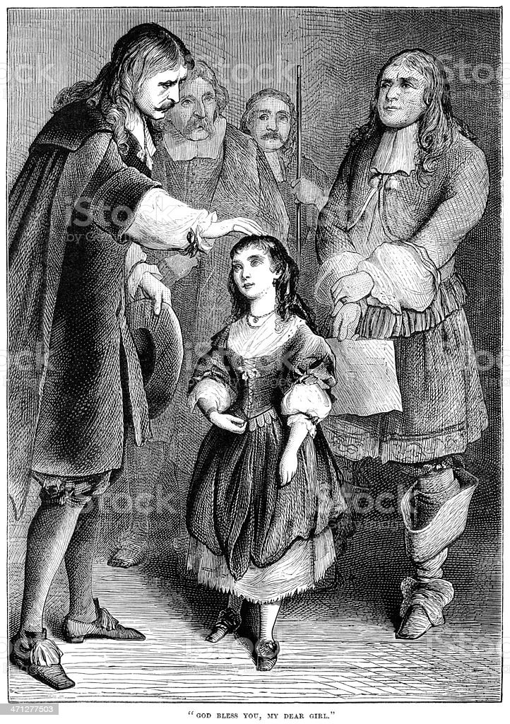 17th century gentleman patting a young girl's head vector art illustration